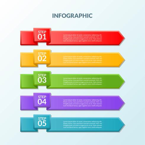 Infographic template of flag 5 steps or workflow diagram vector
