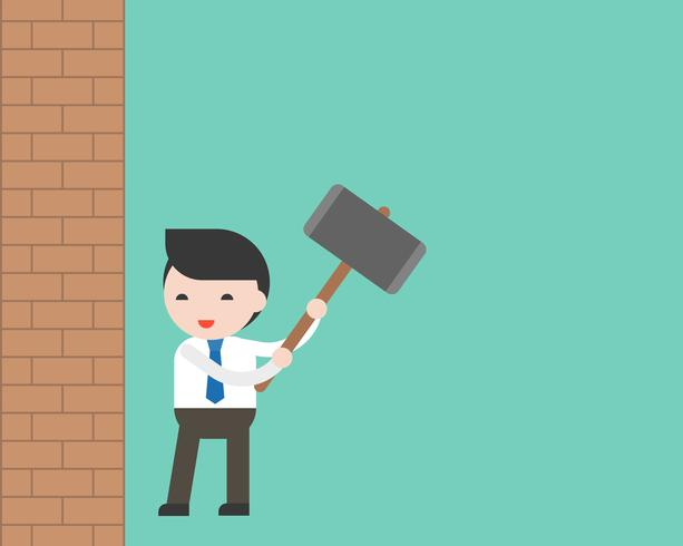 Businessman holing hammer prepare to breakthrough brick wall, freedom concept vector