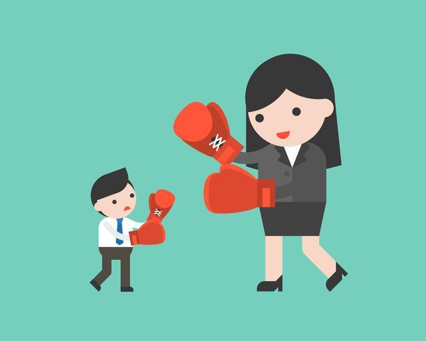 Pequeno empresário lutando com mulher de negócios gigante