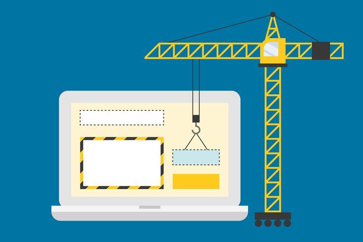 Kran, der mit Webseitenseite im Laptopbildschirm, im Bau Konzept arbeitet