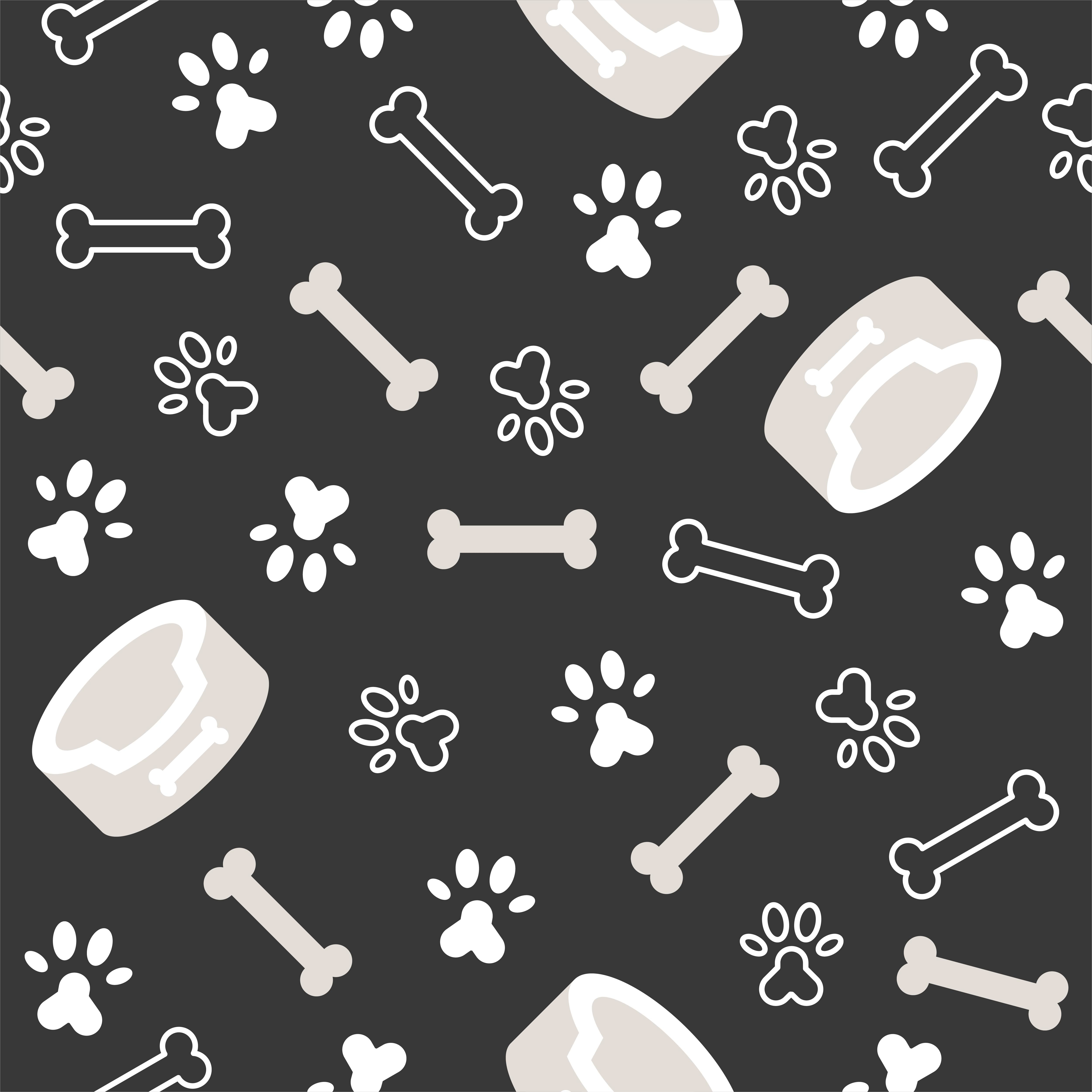 Dog Seamless Pattern Theme Bone Paw Foot Print For Use