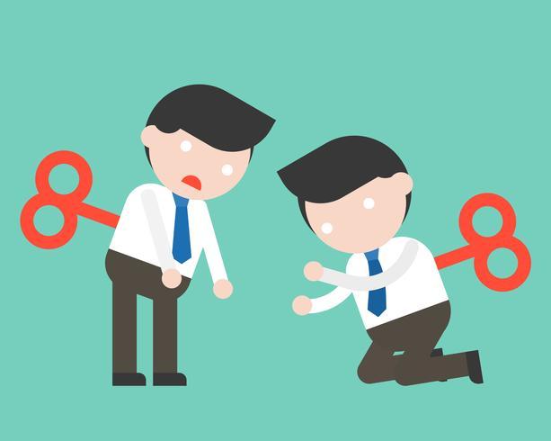 Opwinden Leuke zakenman of manager klaar om karakter te gebruiken