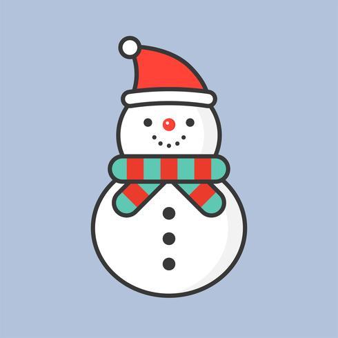 sneeuwpop met kerstmuts, gevuld overzicht pictogram voor kerst-thema