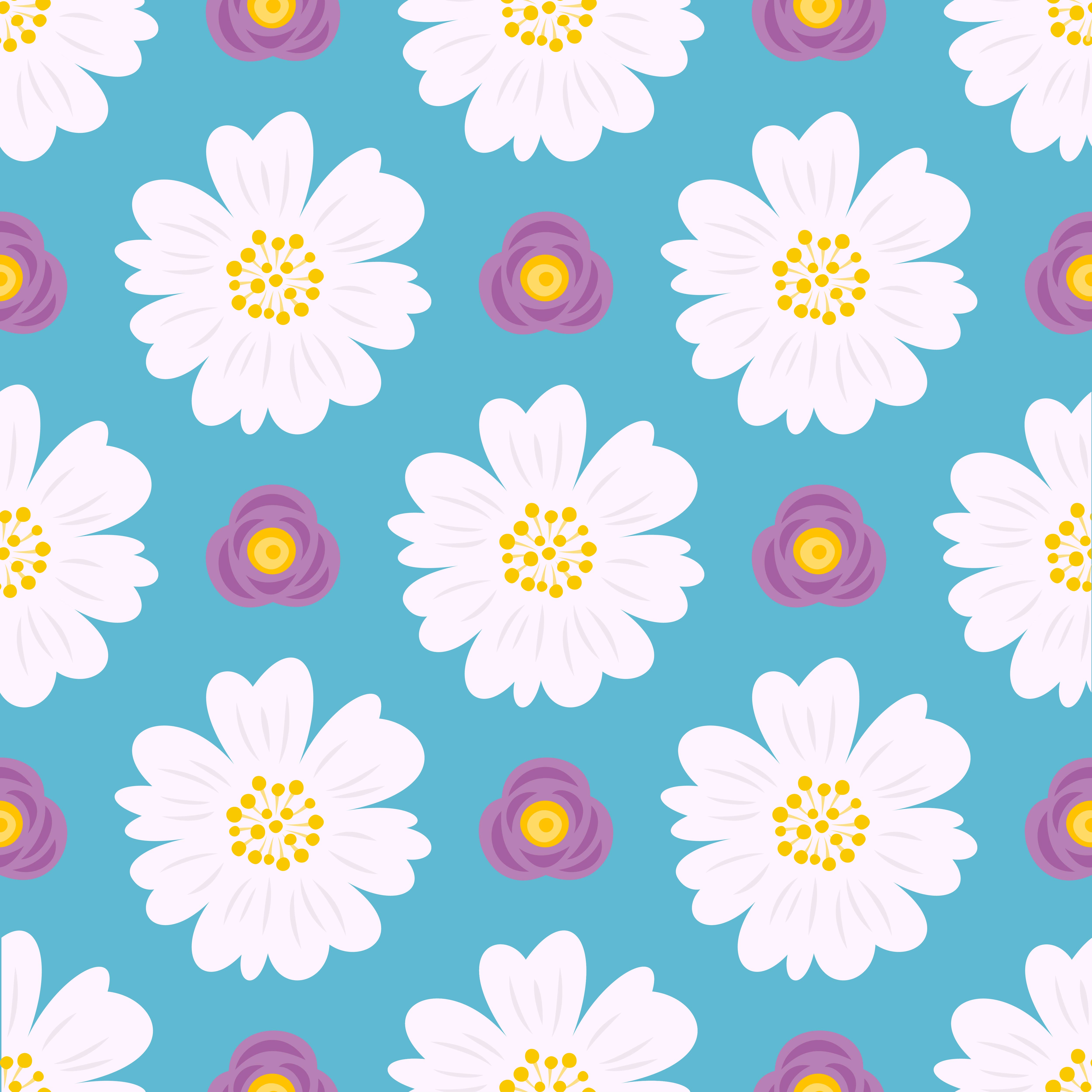 Floral Seamless Pattern, Flat Design For Use As Background