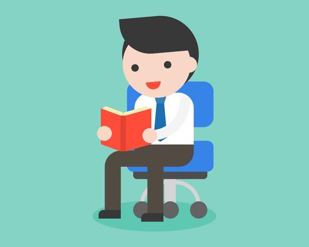 zakenman zittend op een stoel en leesboek, dagelijks leven bedrijf