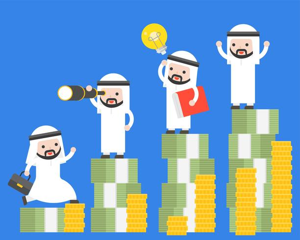 Different Arab businessman and super businessman stand on stack of money