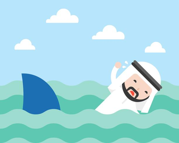 Arab Businessman swimming to escape shark, flat design vector