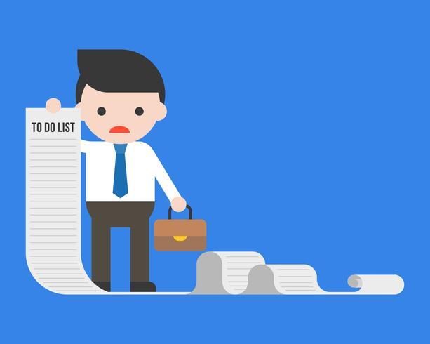 Zakenman of manager die lang document van om lijst te doen houden