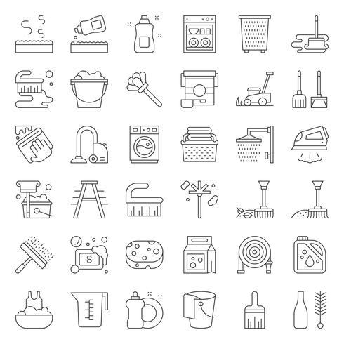 Service et équipement de nettoyage et de blanchisserie et jeu d'icônes d'aperçu