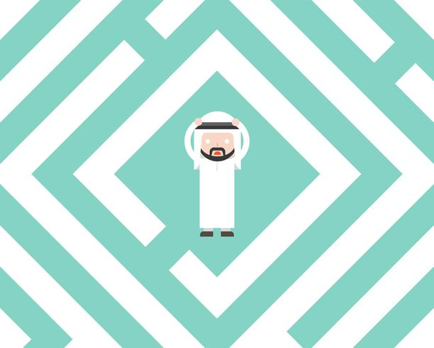 Confused Arab Businessman in labyrinth, flat design solution concept vector