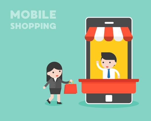 Businessman in mobile stall and businesswoman walking  vector