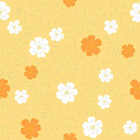 Patrón floral transparente, diseño plano para usar como fondo, papel de regalo o papel tapiz vector