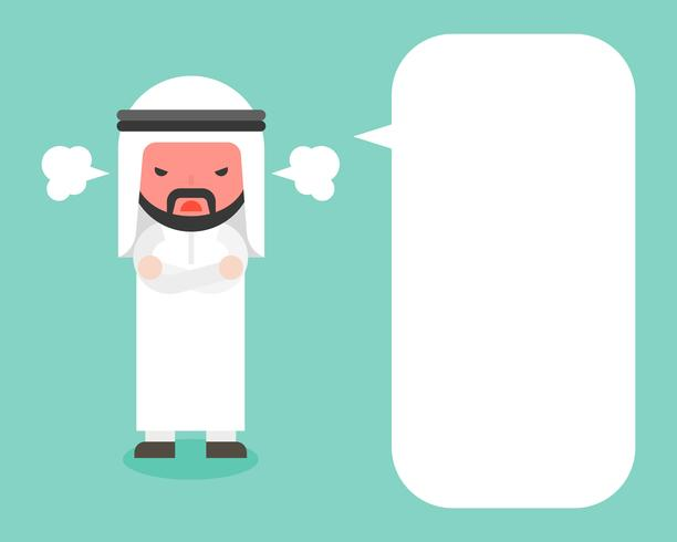Angry Arab businessman and blank speech bubble
