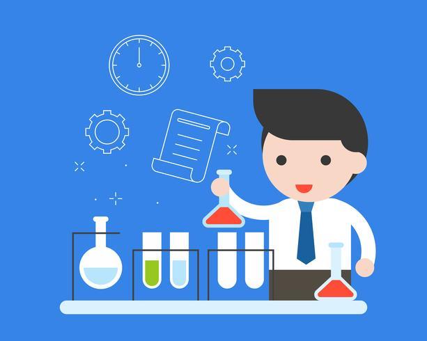 Pesquisa de experimento de professor ou empresário em laboratório químico