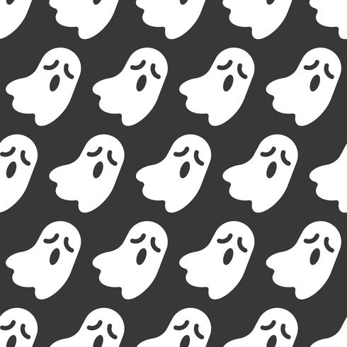 Ghost, Halloween seamless pattern, flat design with clipping mask vector