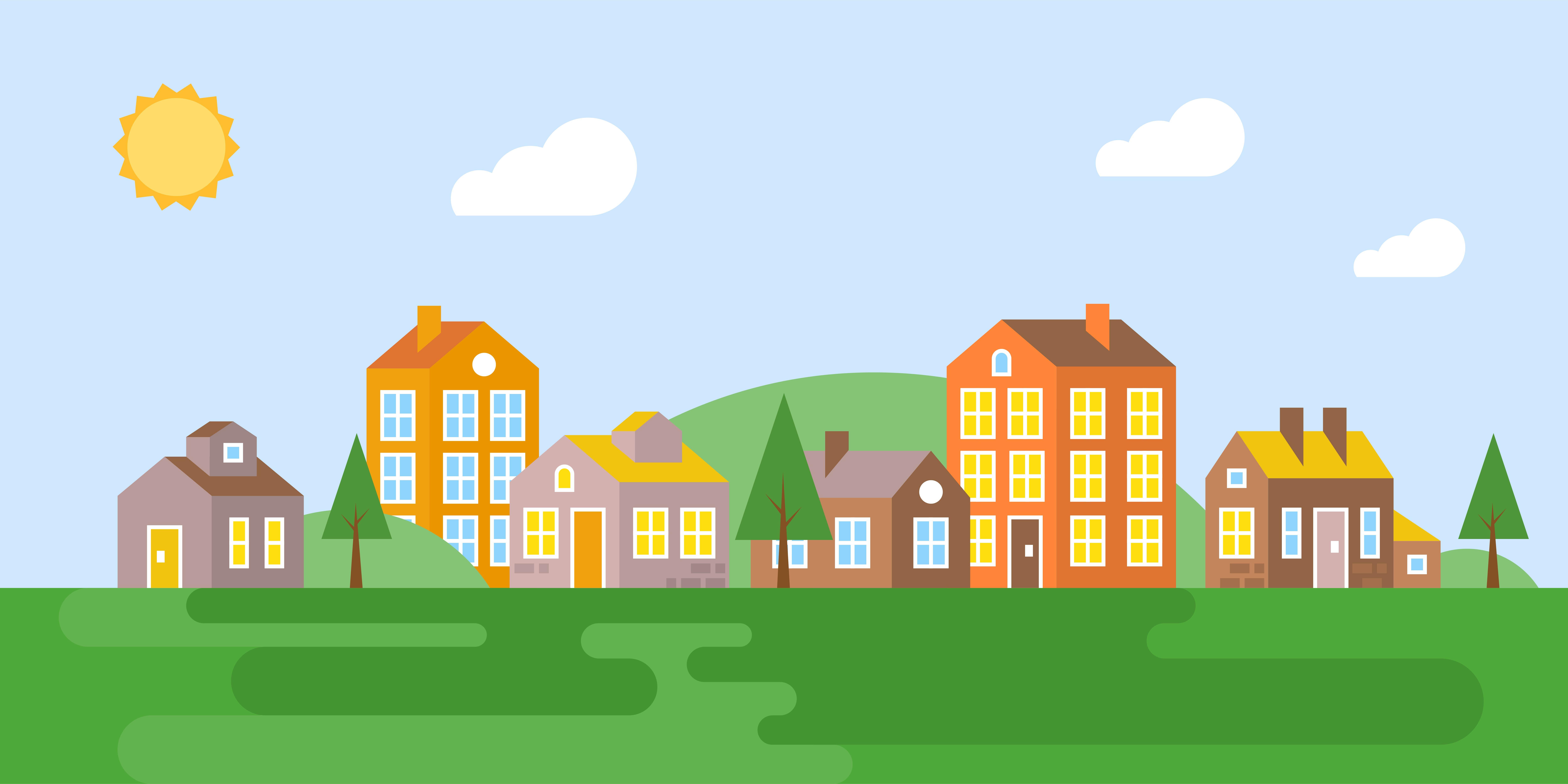 Town Landscape Vector Illustration: Urban Landscape, Village In Summer, Flat Design