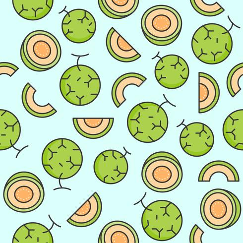 Melon or cantaloupe seamless pattern for wallpaper or wrapping paper vector