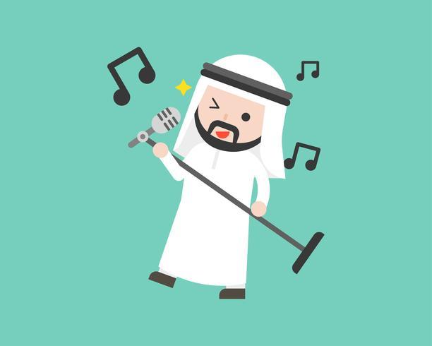 Arabische zakenman microfoon houden en zingen, platte ontwerp