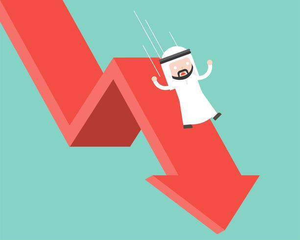 Arabische Zakenmandia en het vallen met het vallen onderaan pijl, bedrijfsmislukkingsconcept