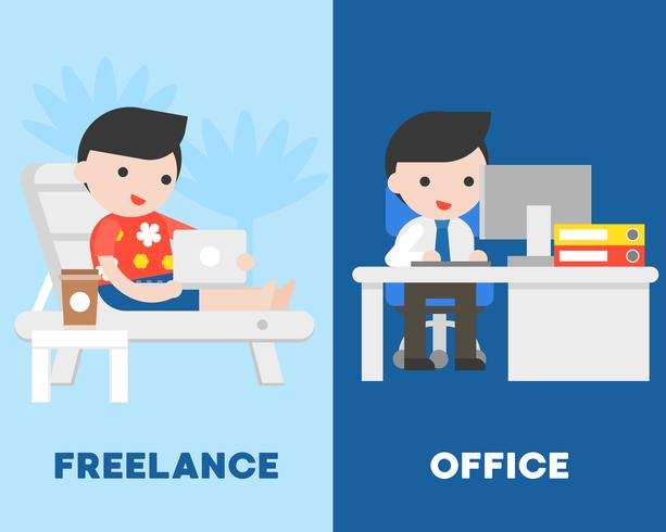 Businessman in office and freelancer on beach chair, compare concept vector