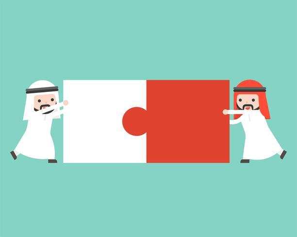 Deux homme d'affaires arabe connecter des pièces de puzzle, design plat