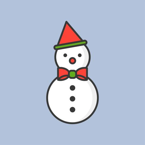 snowman, filled outline icon for Christmas theme vector