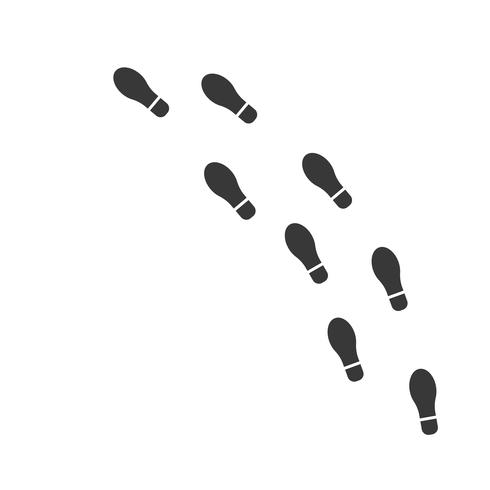 foot print on white background, flat design vector