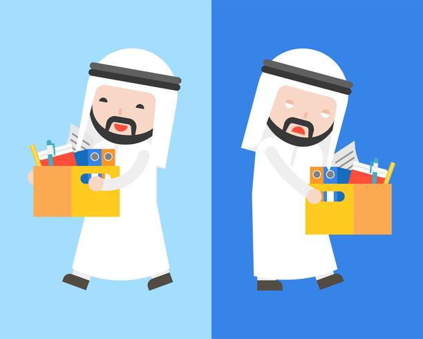 Happy Arab businessman and  bored Arab businessman carry a document box  vector