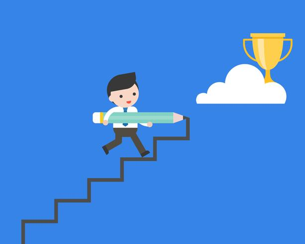 Cute businessman holding big pencil draw steps to reach gold trophy  vector