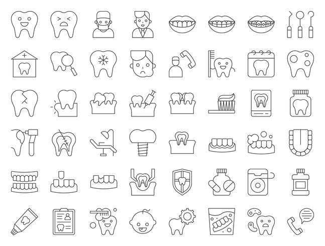 tandarts en tandheelkundige kliniek gerelateerde pictogram, dunne lijnstijl vector