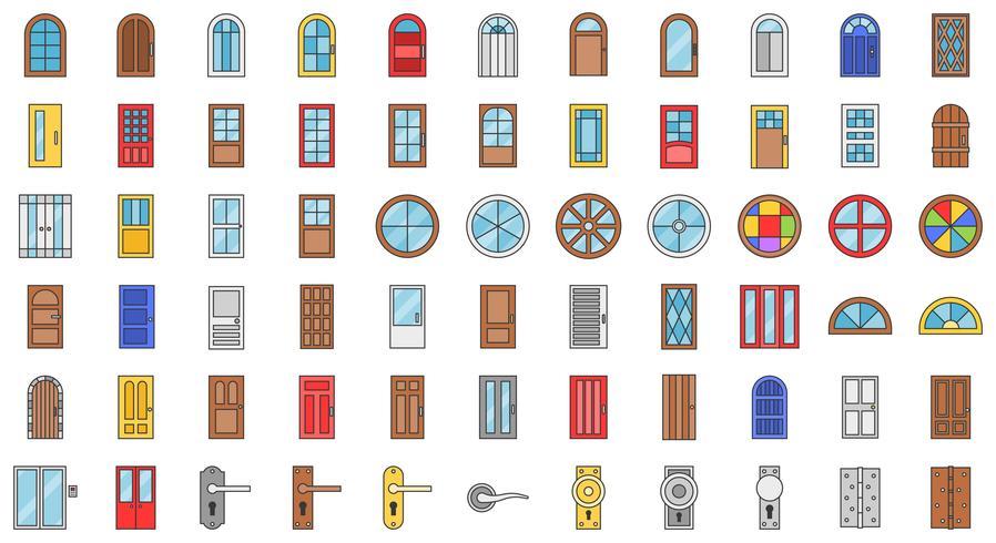 Conjunto de iconos de instalación de puertas y ventanas, contorno relleno vector