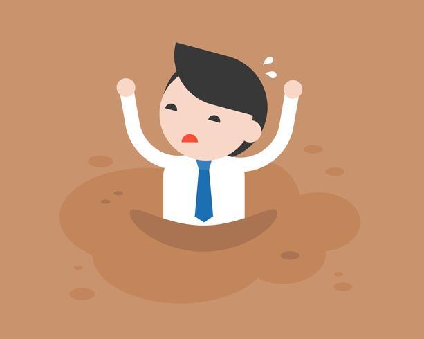 Empresario pidiendo ayuda porque estaba atrapado en arenas movedizas como barro