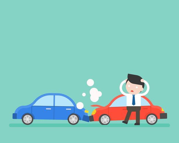 Empresario y accidente automovilístico, situación empresarial lista para usar. vector