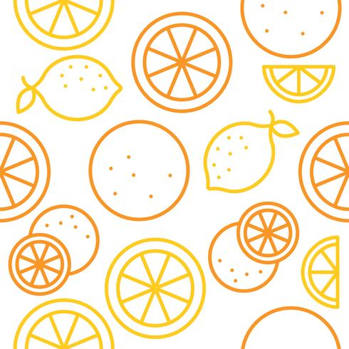Orange and lemon seamless pattern outline for use as wallpaper vector