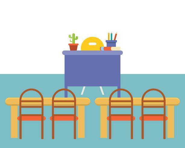 Fondo interior del aula o sala de estudio vacía, diseño plano vector