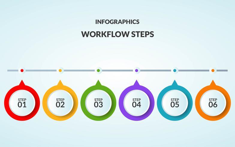 Plantilla de infografía del paso o diagrama de flujo de trabajo adecuado para usar en la línea de tiempo vector