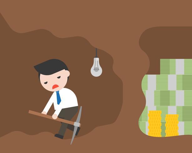 Empresário e picareta desistir de mineração de dinheiro, conceito de negócio de falha