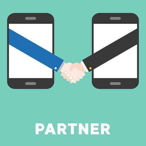 Shaking hand from smart phone, flat design e commerce partner concept vector