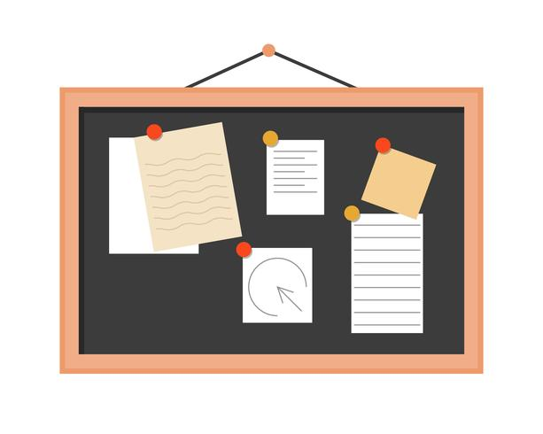 note pad on board with notes, flat design vector