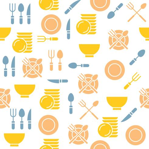 kitchen utensils seamless pattern for wallpaper or print on wrapping paper and napkin vector