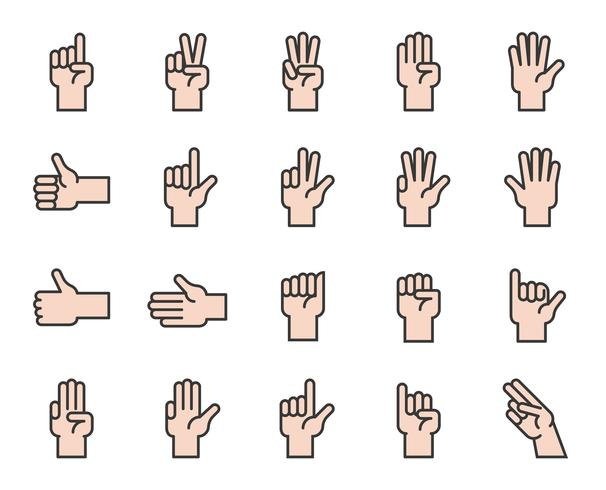 Hand counting and hand gesture icon such as like, love, fist, filled outline icon vector
