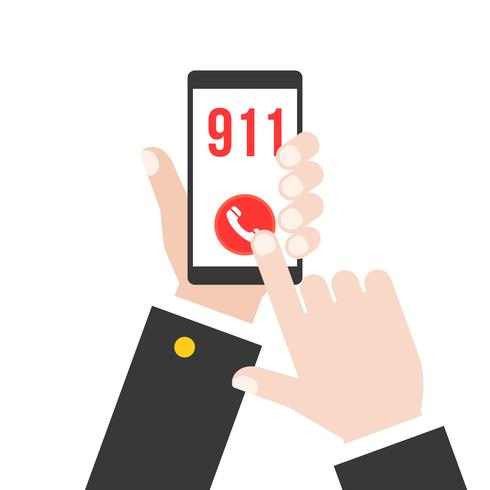business hand holding smart phone calling police 911 from application, flat design vector