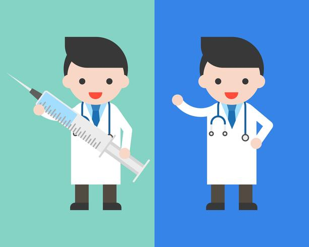 Doktor i klänning med stor injektionsnålvektor