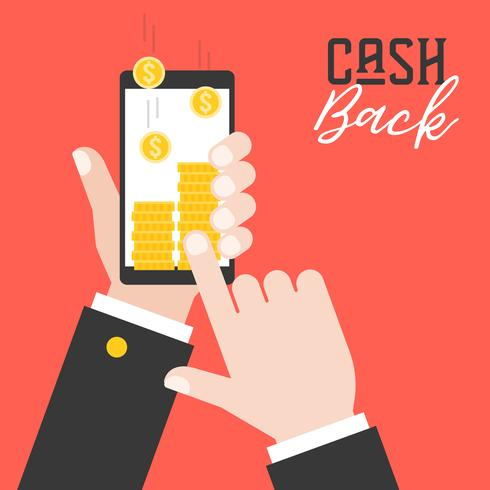business hand holding smart phone and get cash back from application vector