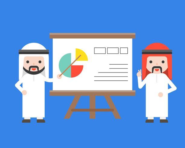 Presentación de dos empresarios árabes con soporte de presentación.