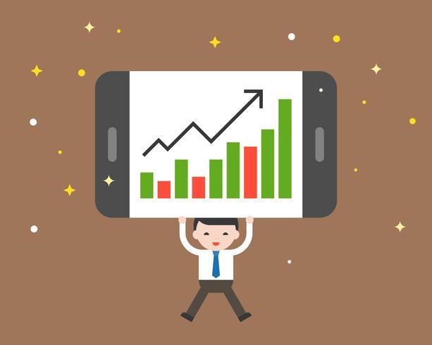 Hombre de negocios que agujerea el gráfico de barras común en tableta, concepto de negocio cada vez mayor vector