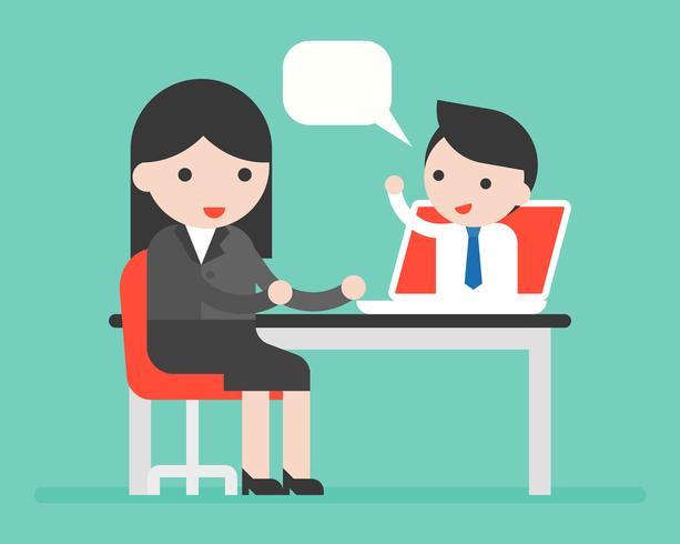 empresario en laptop hablando con empresaria vector
