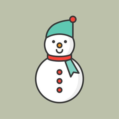 pupazzo di neve, icona di contorno pieno per tema natalizio