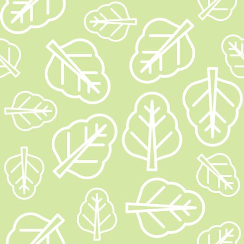 Chinese kale or spinach leaves outline seamless pattern