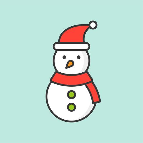 snowman with Santa hat, filled outline icon for Christmas theme vector